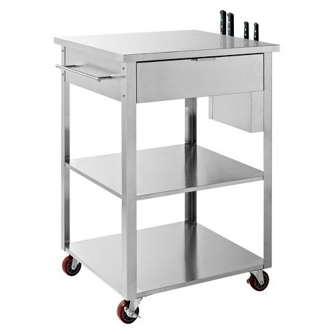 Crosley Culinary Prep Kitchen Cart Stainless Steel Kitchen Cart Outdoor Kitchen Appliances Kitchen Storage Cart