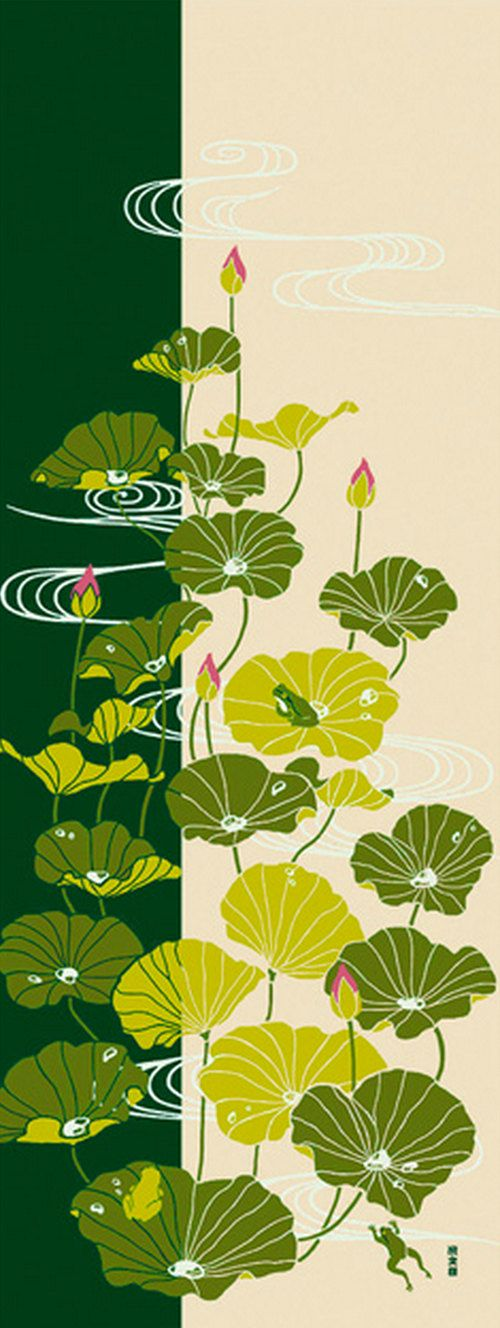 Japanese Tenugui Towel Fabric Kawaii Frog u0026 by JapanLovelyCrafts & Kawaii Frog u0026 Green Lotus Leaf Japanese Tenugui Towel Fabric Hand ...