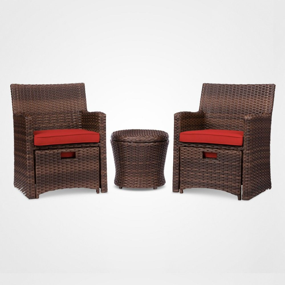 Halsted 5pc All Weather Wicker Outdoor Patio Chat Set Red