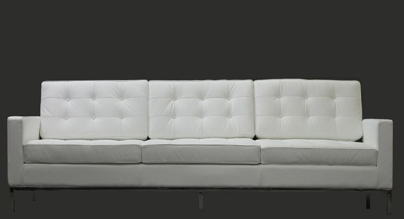Delightful Modern Florence Style Sofa Genuine White Leather By Lexington Modern