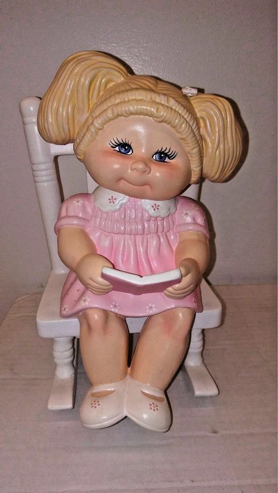 1980 S Large Ceramic Cabbage Patch Doll Figurine Blonde Hair Blue Eyes On Chair Cabbage Patch Dolls Blonde Hair Blue Eyes Cabbage Patch
