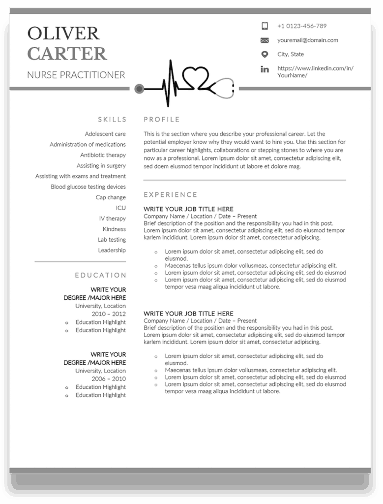 10 Premium Nurse Practitioner Resume Templates + Sample