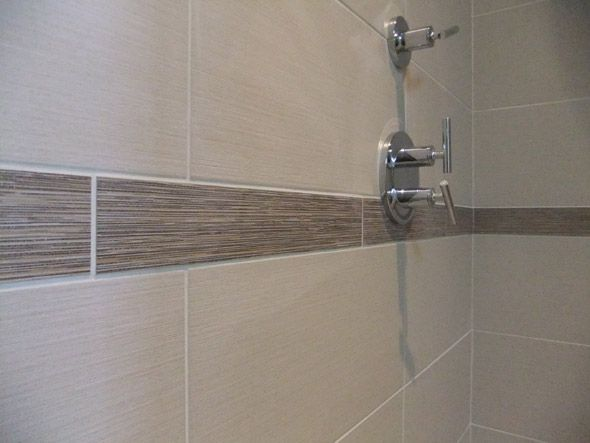 Linen Tile With Accent Piece Shower Wall Tile Room Wall Tiles Shower Tile