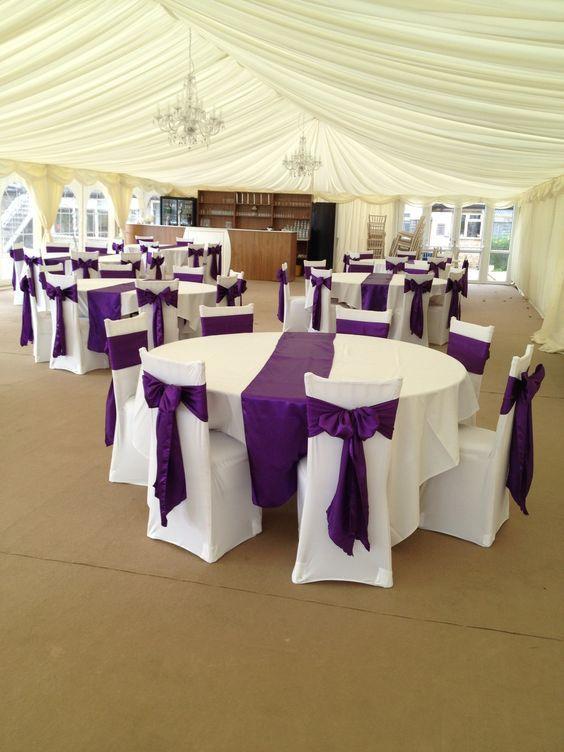 cadbury purple satin sashes with white covers like the satin on