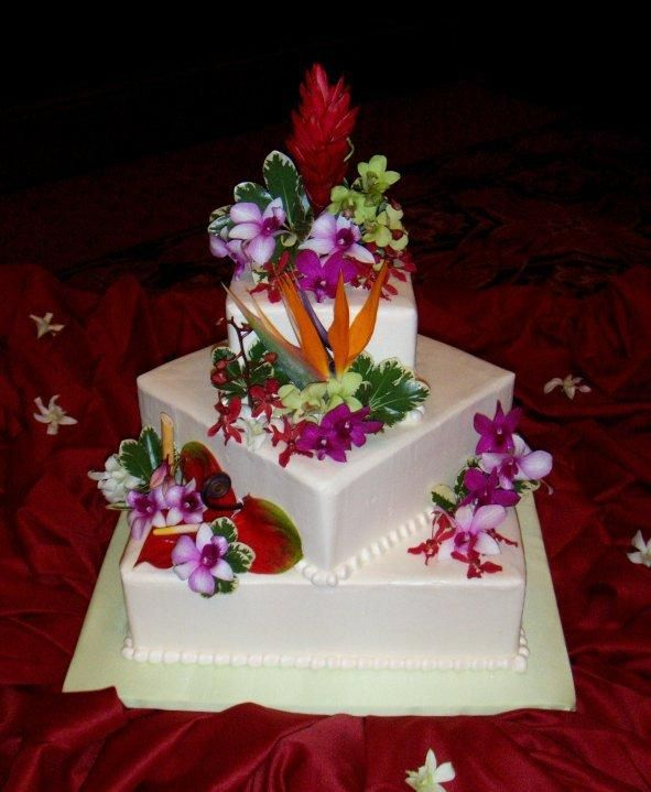 Maui Wedding Cake Tropical By Hawaiian Cakesations