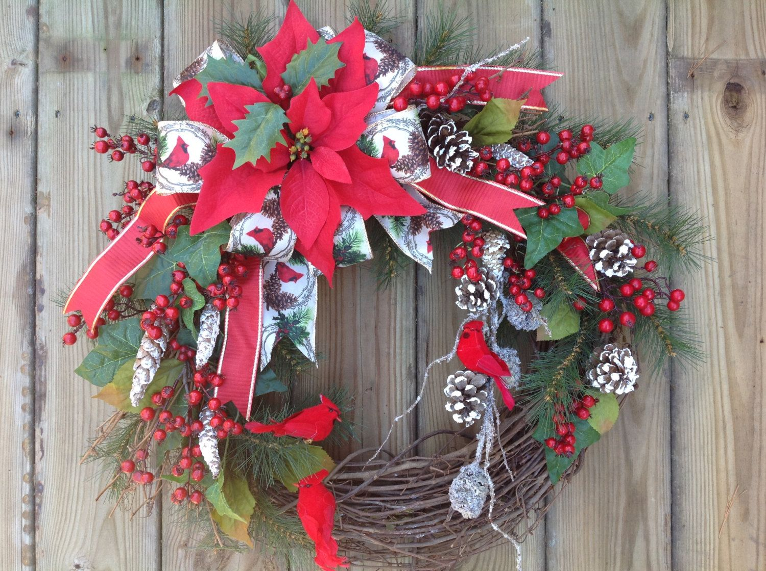 Ordinaire Christmas Wreath, Cardinal Wreath, Winter Wreath, Cottage Garden Wreath,  Grapevine Wreath,