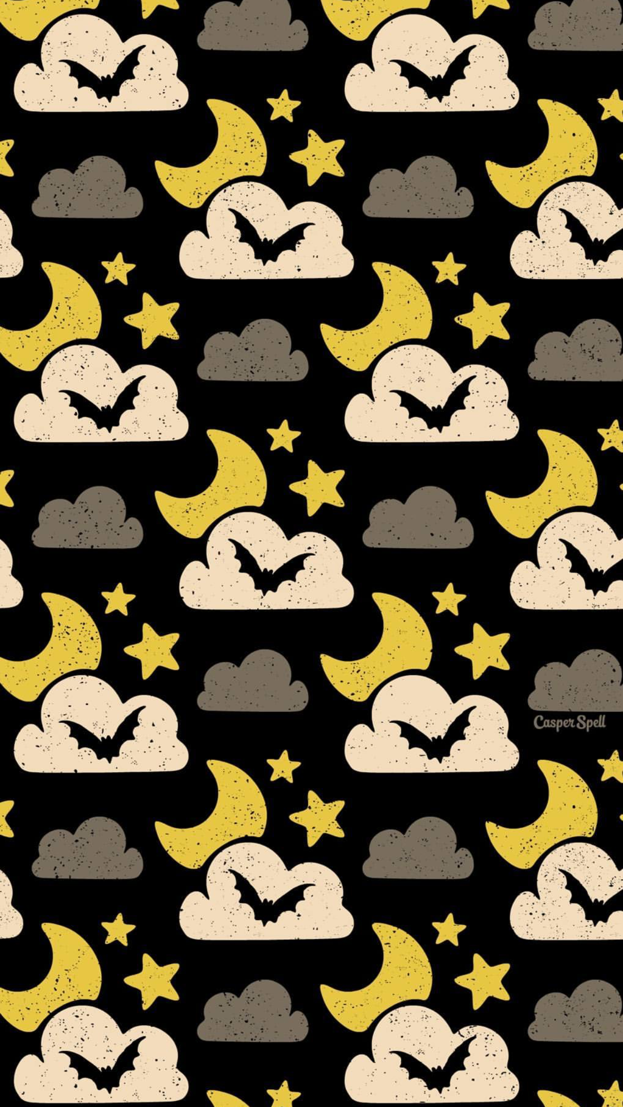 Moon Star Bat Halloween Wallpaper By Artist Casper Spell