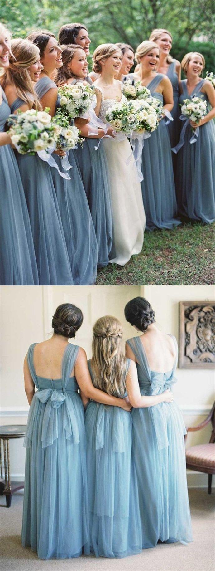 Aline vneck floorlength backless dark blue tulle bridesmaid dress