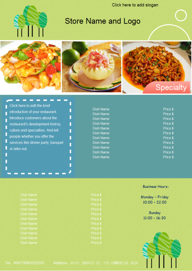 a free customizable food menu template is provided to download and