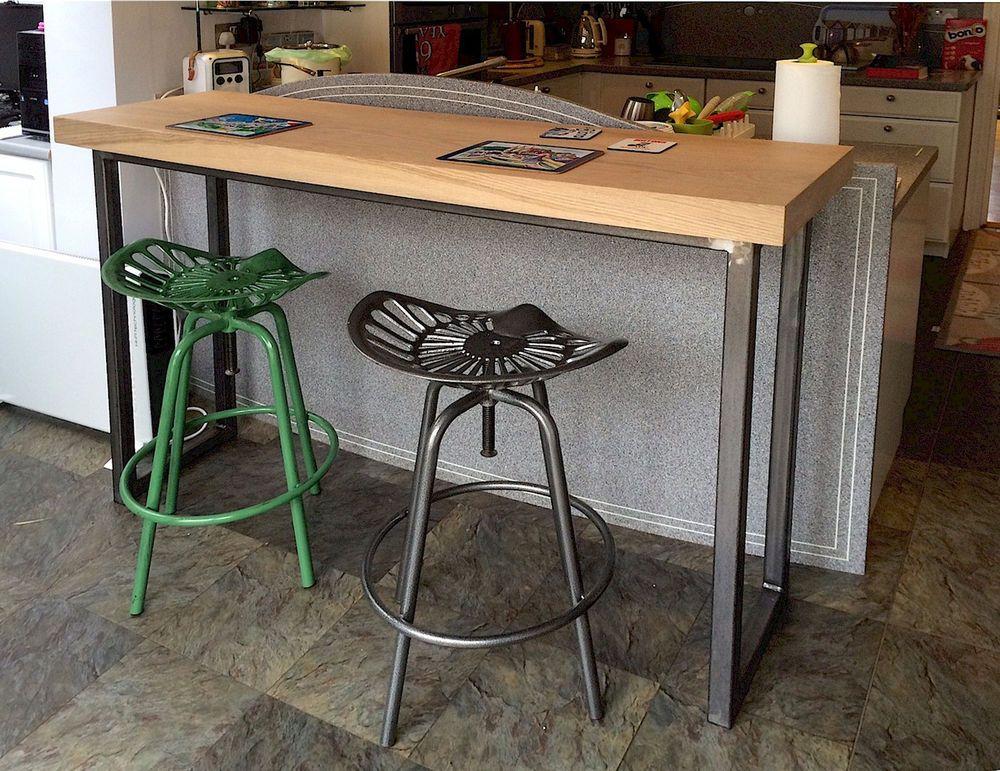 reclaimed solid oak topped breakfast bar console table