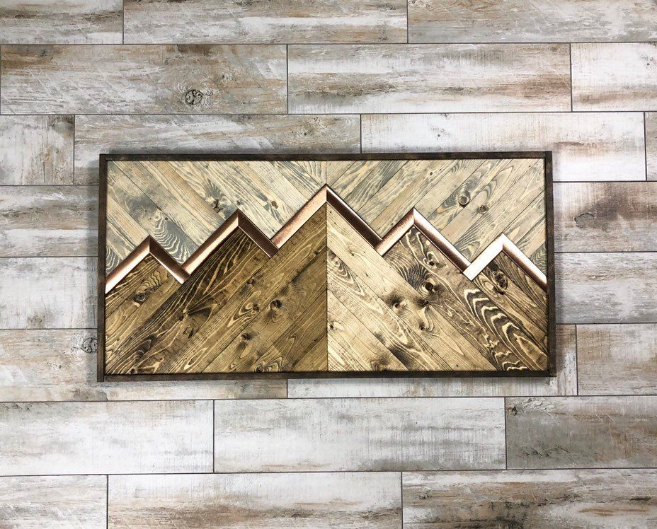 Stained Copper Mountain Ridge Reclaimed Wood Wall Art Wood Etsy Reclaimed Wood Wall Art Reclaimed Wood Wall Rustic Copper