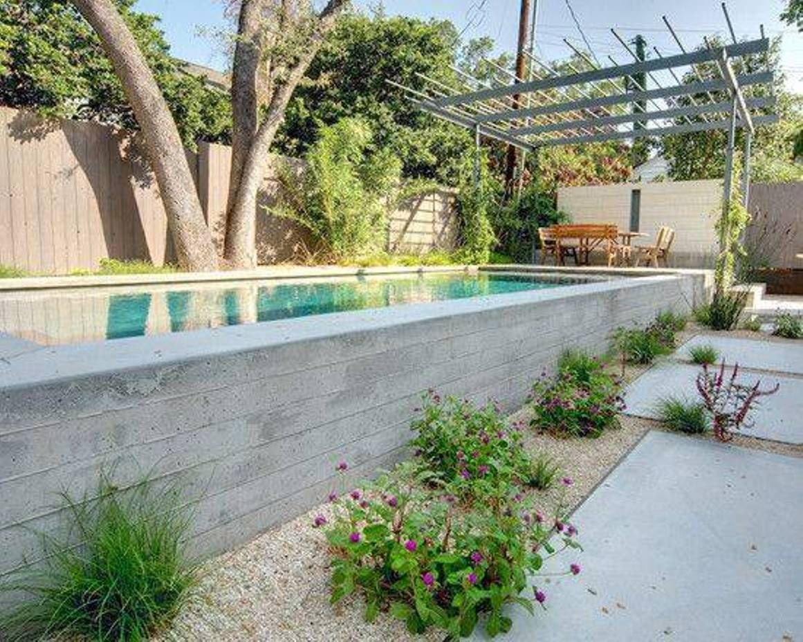 Long Narrow Concrete Above Ground Modern Pools Above Ground Modern Pools Concrete Swimming Pool Pool Landscape Design Backyard Pool Landscaping