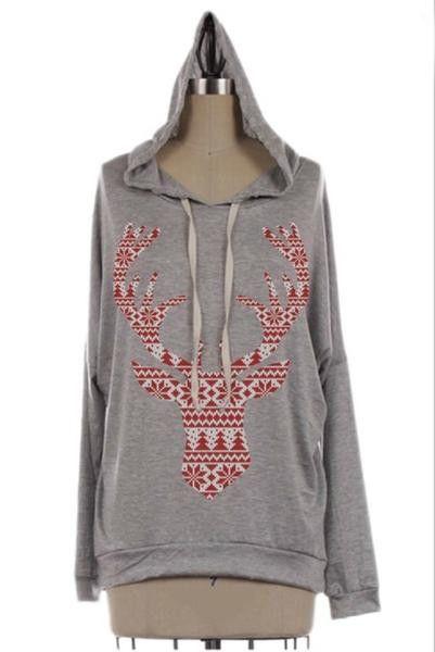 Merry And Bright Lightweight Dolman Reindeer Hoodie: Gray