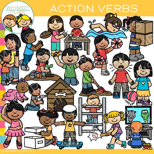 Action Verbs Clip Art Clip Art Kids Clipart Verbs For Kids