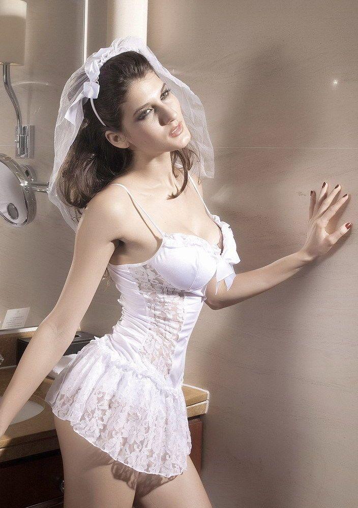 SEXY Naughty Nuptials BRIDE Costume White Wedding Dress ...