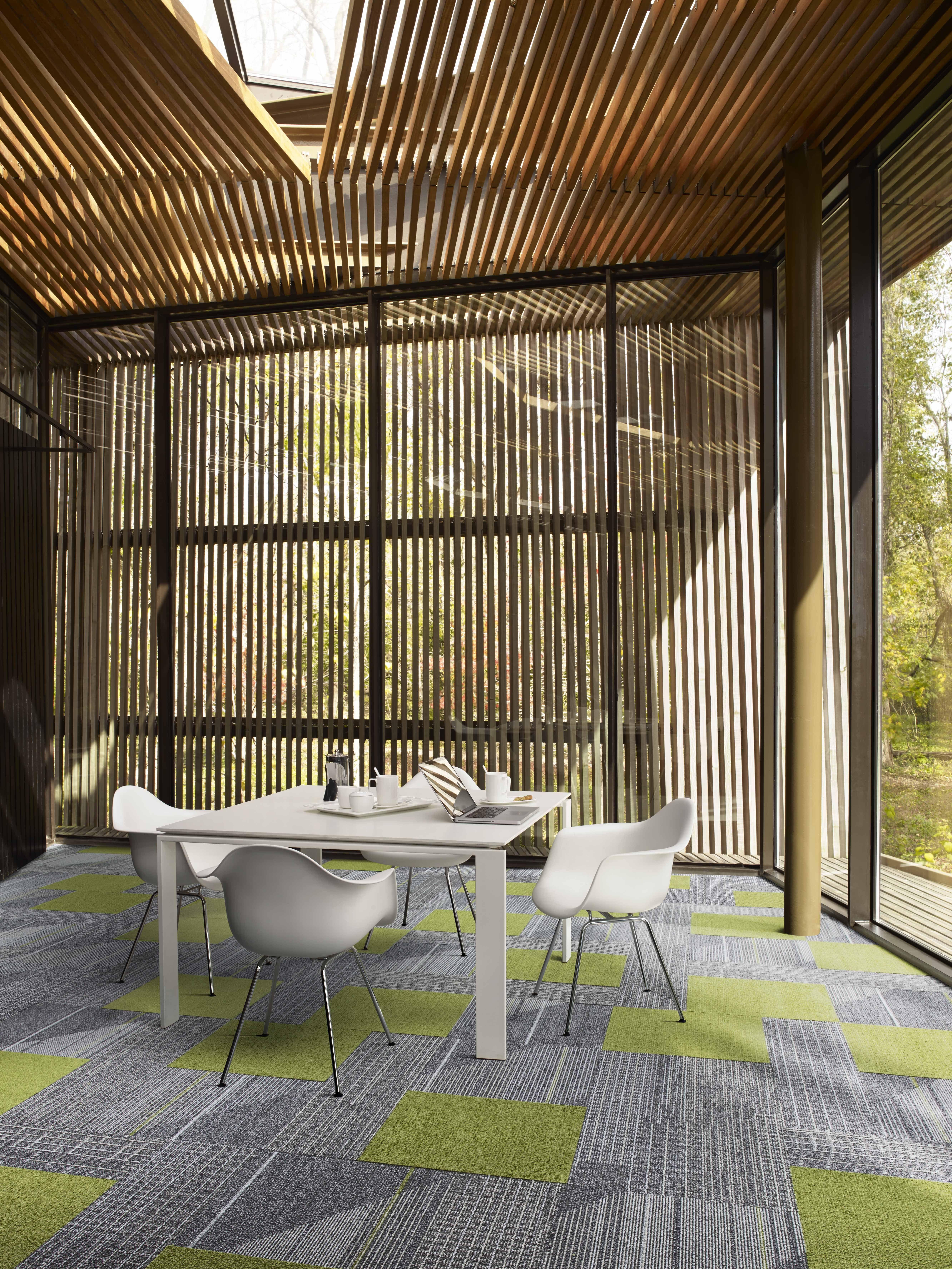 Interface modular carpet tile detours pewter ct111 pewter viva colores verde primavera - Sustainable carpet tiles ...