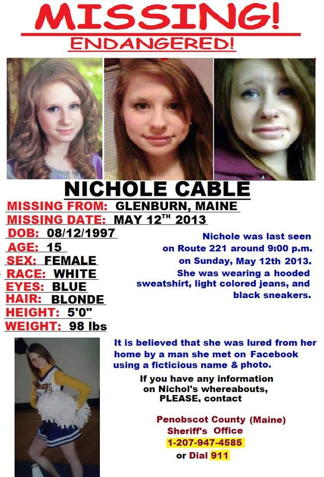 RE-PIN!!!! Please help find Nichole Cable, a missing teen