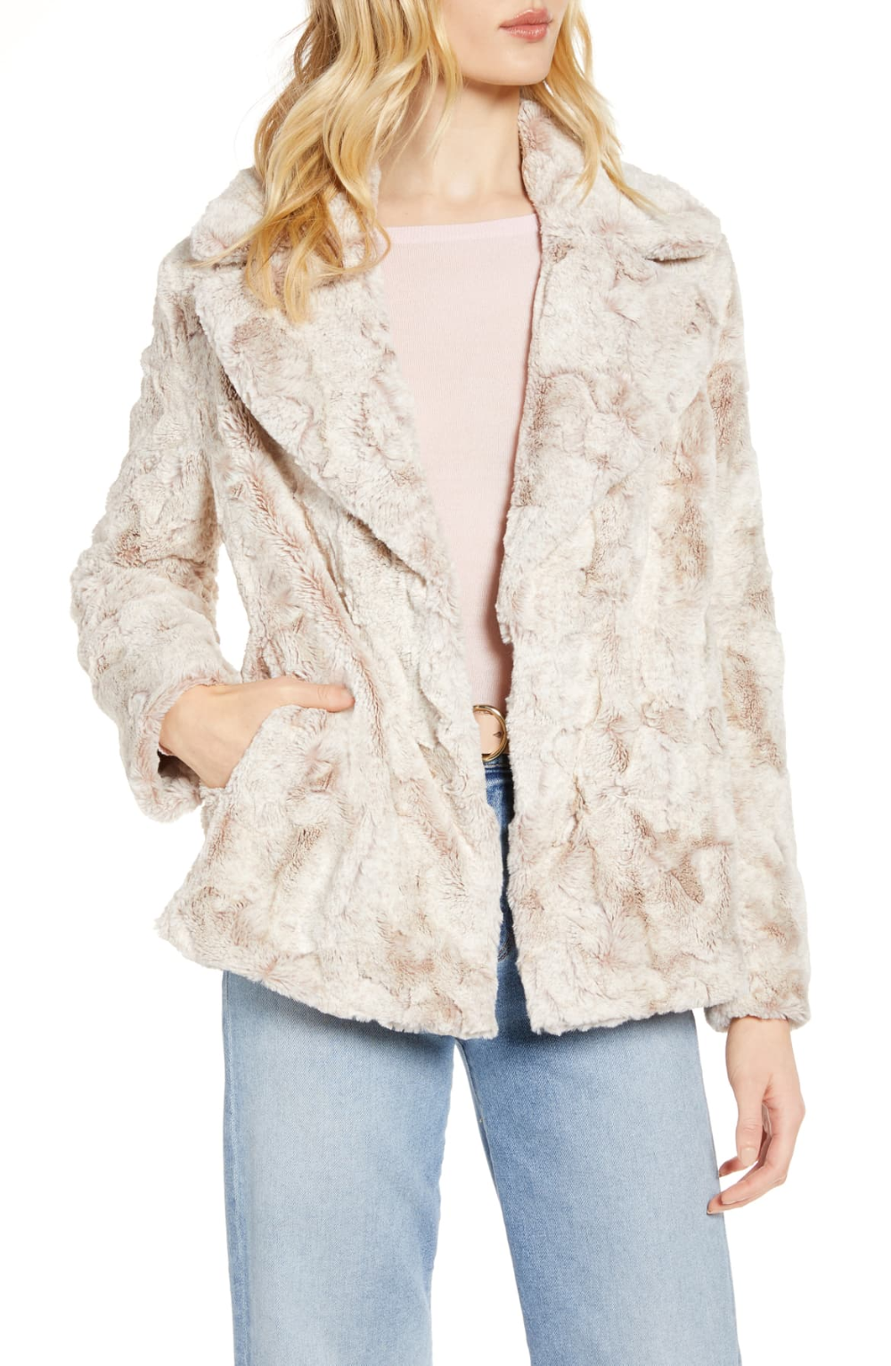 Halogen® Textured Faux Fur Coat (Regular & Petite
