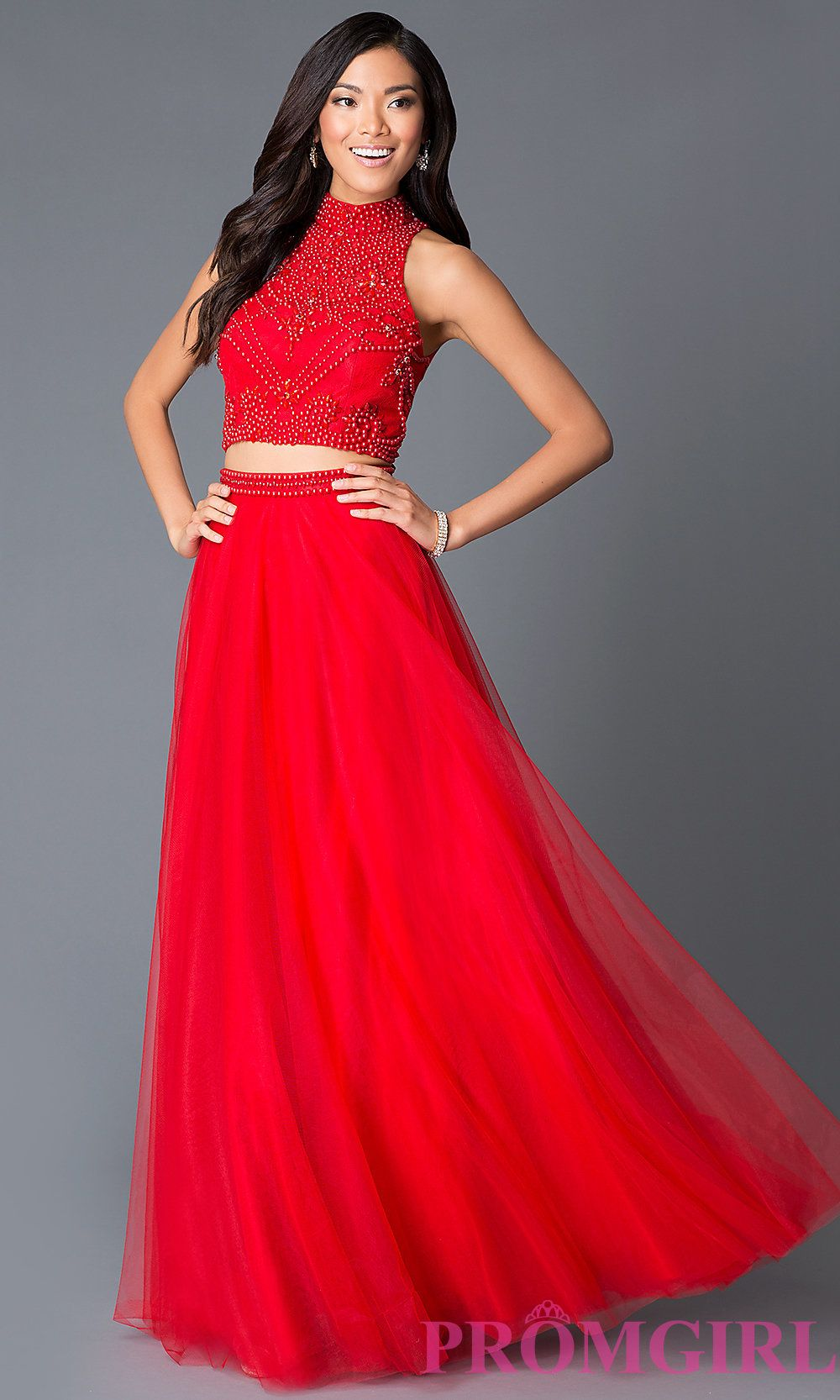 High neck red two piece beaded red long prom dress style na