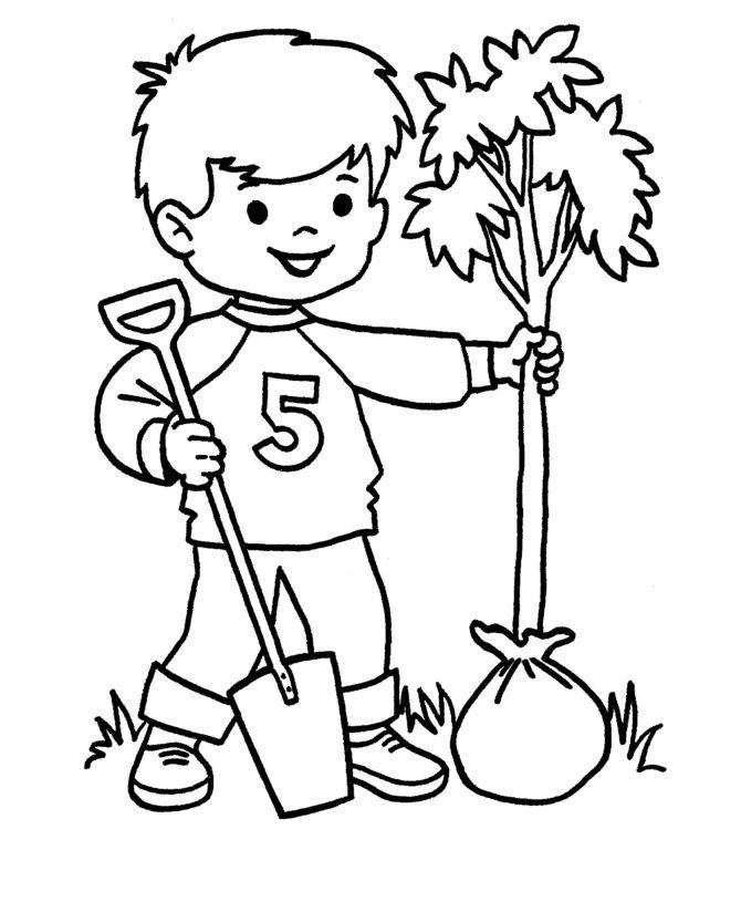 Arbor Day Plant Bare Tree Coloring Page Di 2020 Kerajinan Tangan