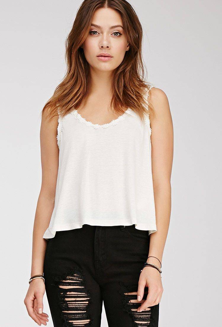 $10.90 Crocheted Daisy-Trimmed Top   Forever 21 - 2000080063 Lightweight knit 85% rayon, 15% linen