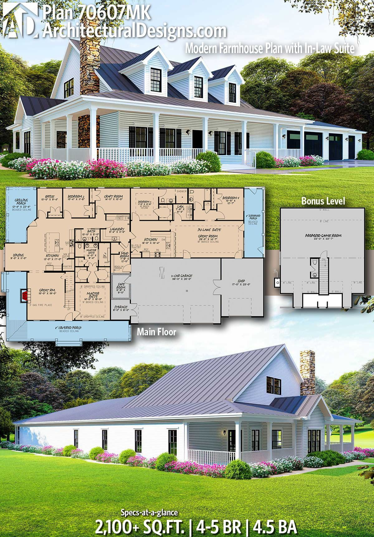 Plan 70607mk Modern Farmhouse Plan With In Law Suite