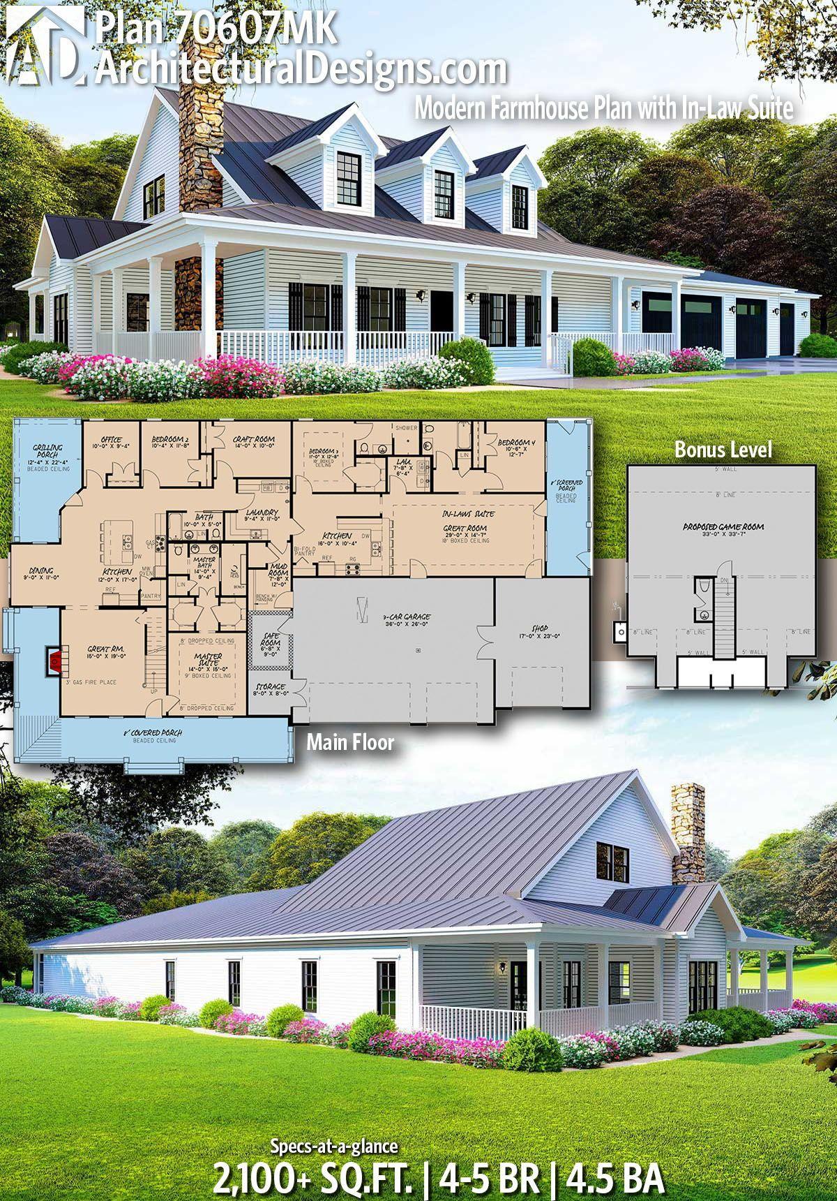 Plan 70607mk Modern Farmhouse Plan With In Law Suite Modern Farmhouse Plans Multigenerational House Plans House Plans Farmhouse