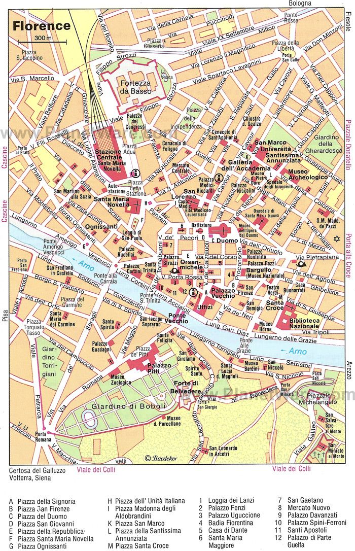 Map Of Florence Attractions Planetware With Images Terkep