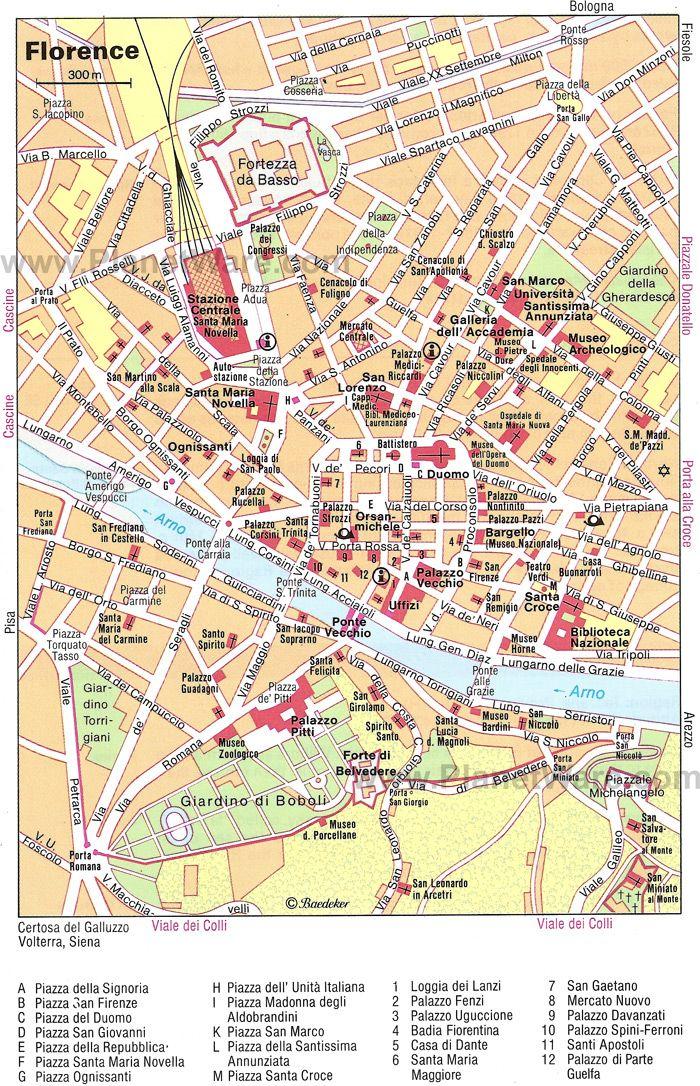 Map of Florence Attractions PlanetWare TuscanyAgriturismoGiratola