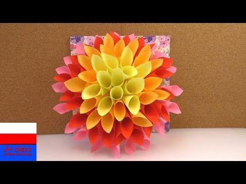 Wielki Kwiat Z Papieru Jako Wiosenna Dekoracja Robimy Dalie Z Kartek Do Notowania Youtube Manualidades Creativas Manualidades Creatividad