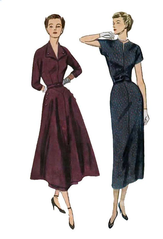 1940s Wiggle Dress or Dress w Overskirt Simplicity 2954 Vintage 40s ...