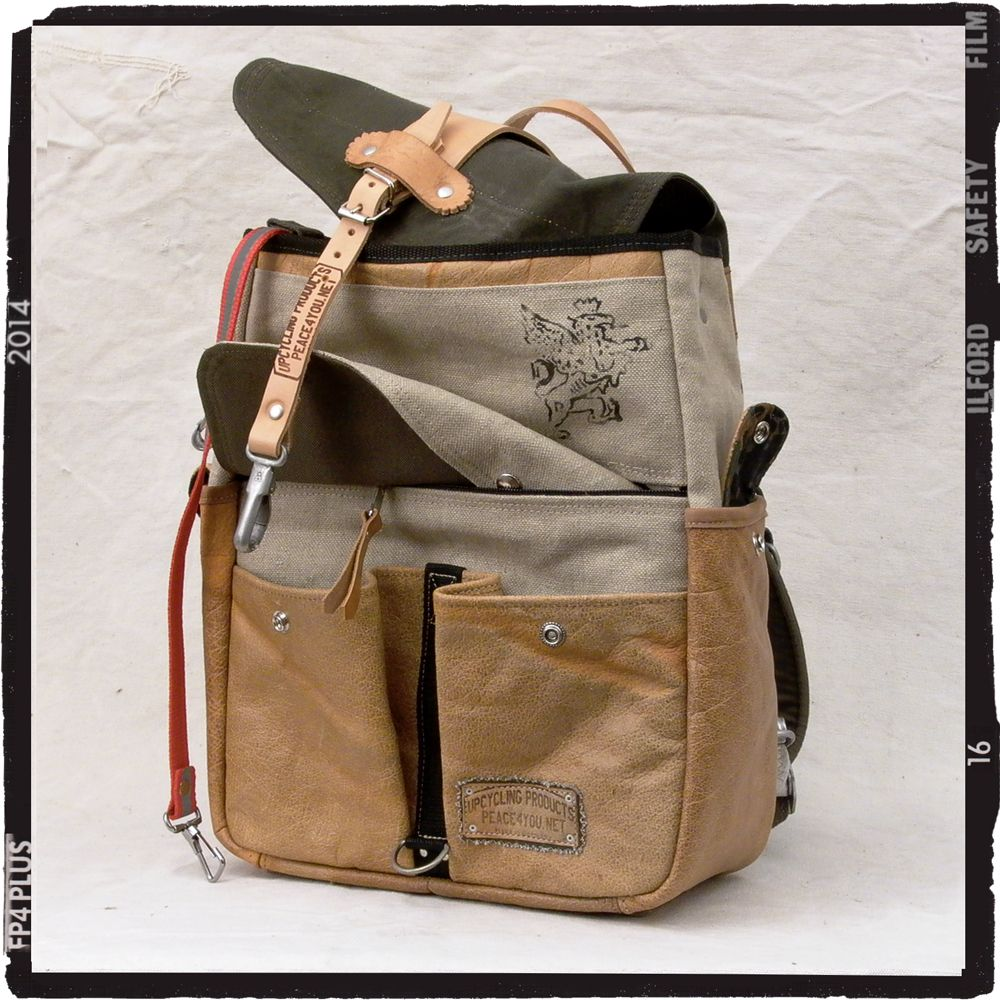 An all original upcycled recycled backpack its made