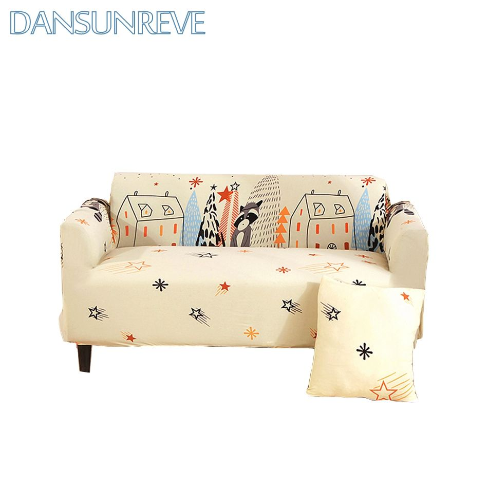 Yellow Sofa Cover Cartoon House And Small Raccoon Printed Suitable For Sofa Decoration Lovely And Cute Machine Washable Sli Sofa Covers Yellow Sofa Sofa Decor