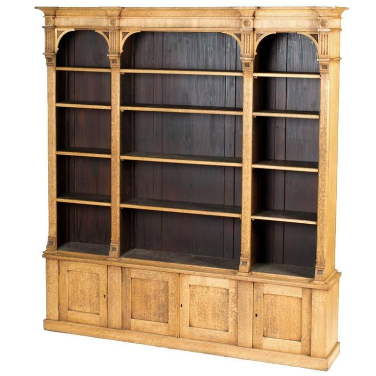 1880s English Open Face Oak Bookcase Bookcase Bookcases For
