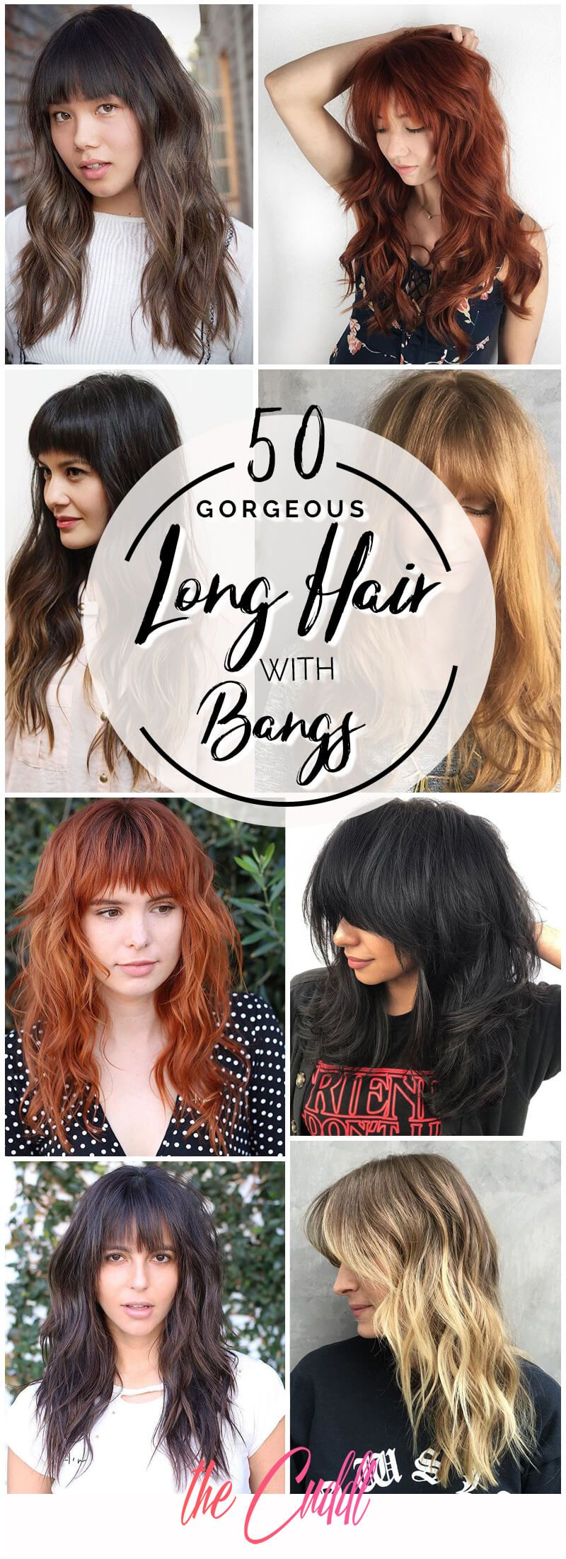 50 Fun Fresh Ways To Style Long Hair With Bangs Long Hair With Bangs Hairstyles With Bangs Thick Hair Styles