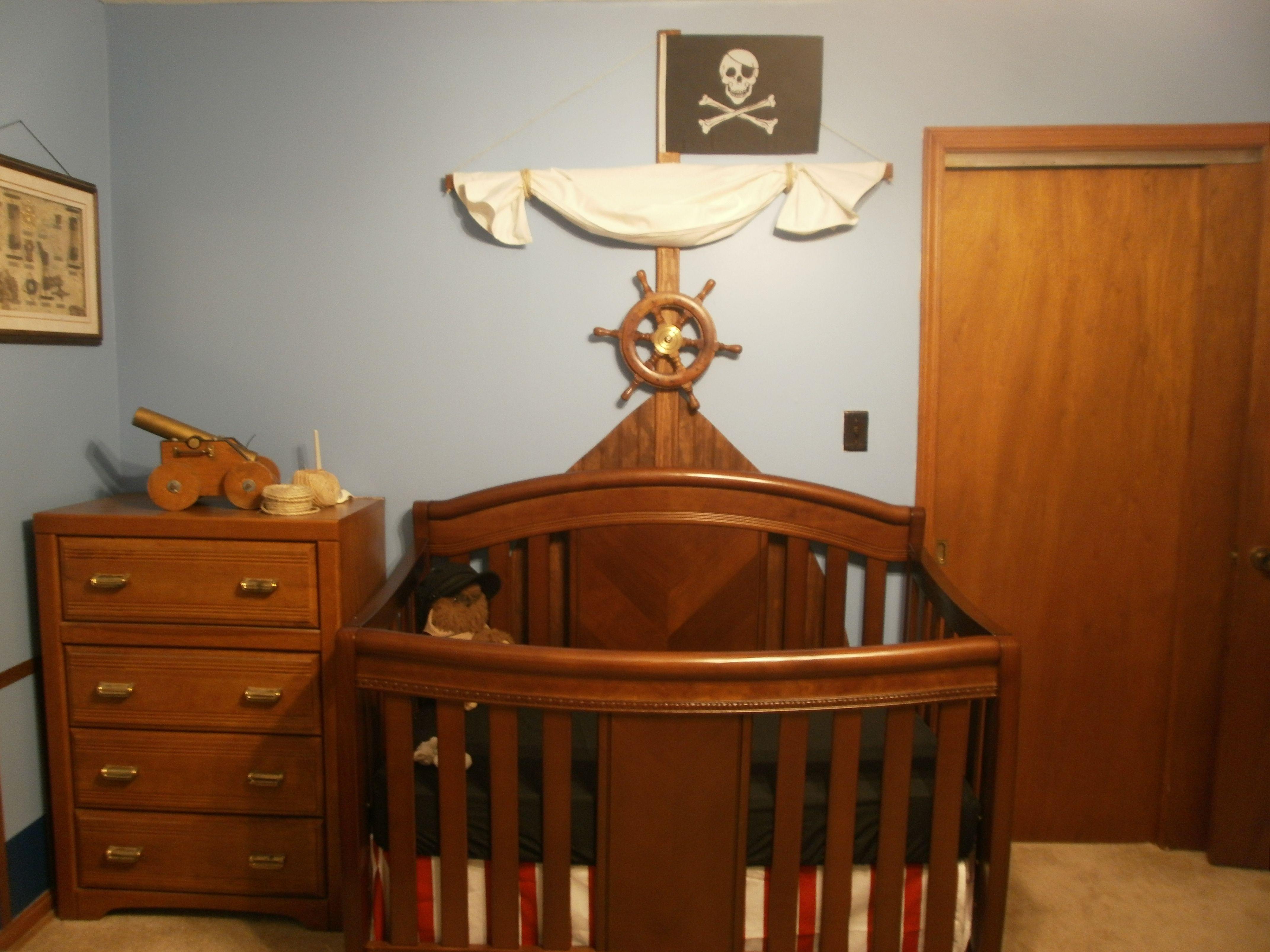 Pirate nursery bow/mast wall Pirate nursery, Kid room