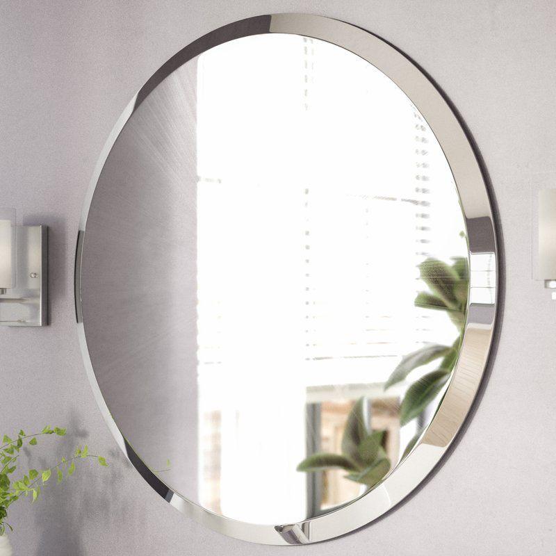 Valtierra Round Frameless Mirror Bathroom Vanity Mirror Modern
