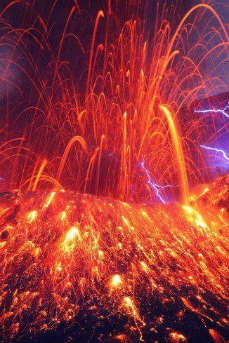 Sakurajima with volcanic lightning in Kagoshima Prefecture in Kyushu, Japan. Takehito Miyatake.