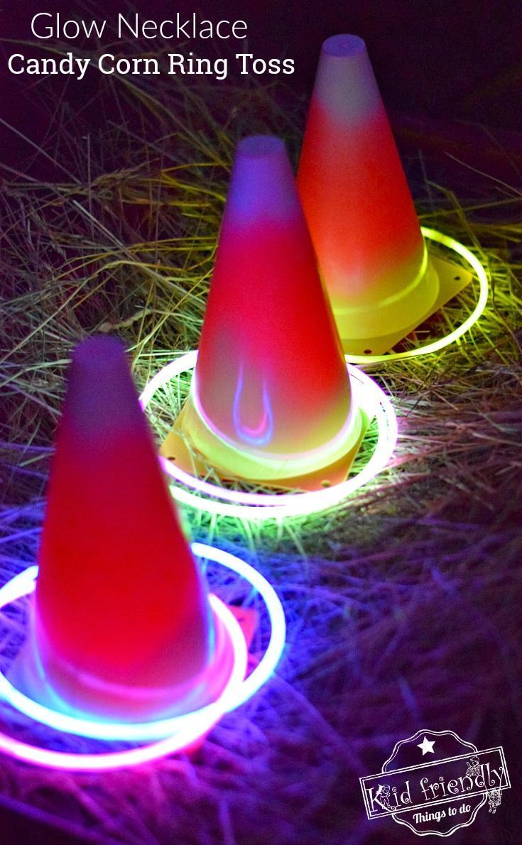 Easy DIY Candy Corn Ring Toss with Glow Necklaces for a Fun Fall, Halloween, or Thanksgiving Game