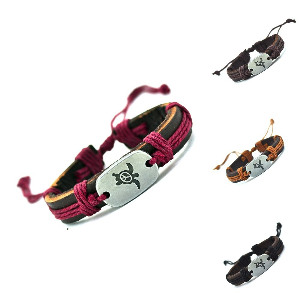 2016 Tartarughe In Vera Pelle Pace Charm Bracelet Bracciale Intrecciato Wrap Bracelet & Bangles Moda Per Le Donne Gli Uomini Regali