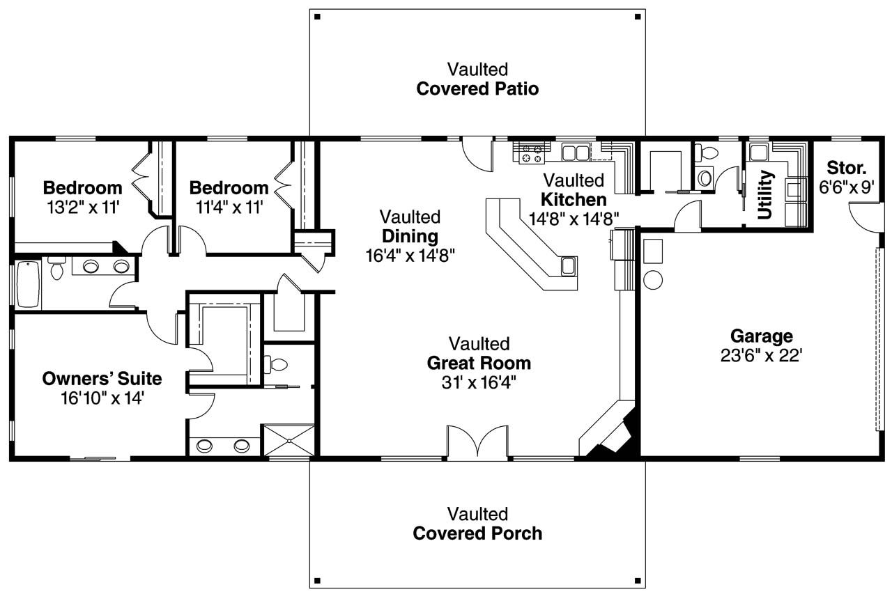 Small ranch floor plans ranch house plan ottawa 30 601 for Ranch style cabin plans