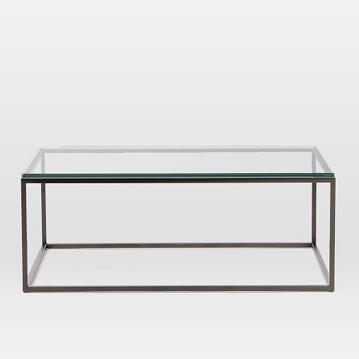 Box Frame Coffee Table Glass Antique Bronze Meuble Bois