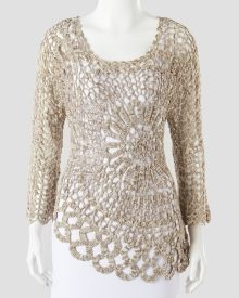 Floral Crochet Scoop-Neck Sweater, Main View