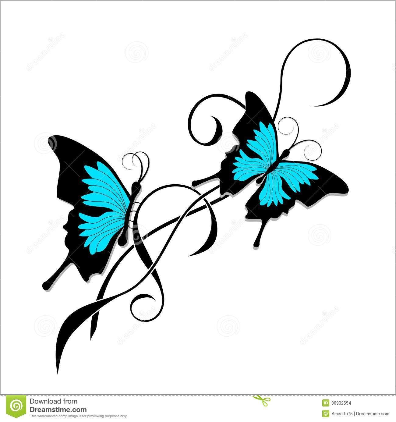 Tribal de bleu de noir de tatouage de papillon images - Tribal papillon ...