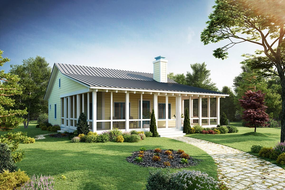 Plan 12912kn Big Covered Porch In 2021 Porch House Plans Cottage Style House Plans Small House Exteriors