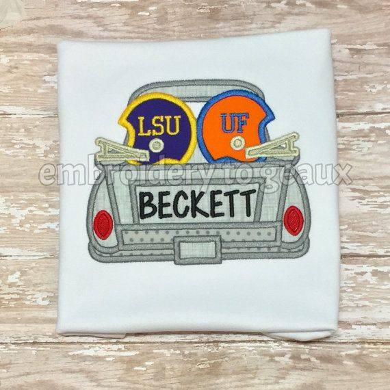 House Divided Truck-LSU and University of by EmbroiderytoGeaux