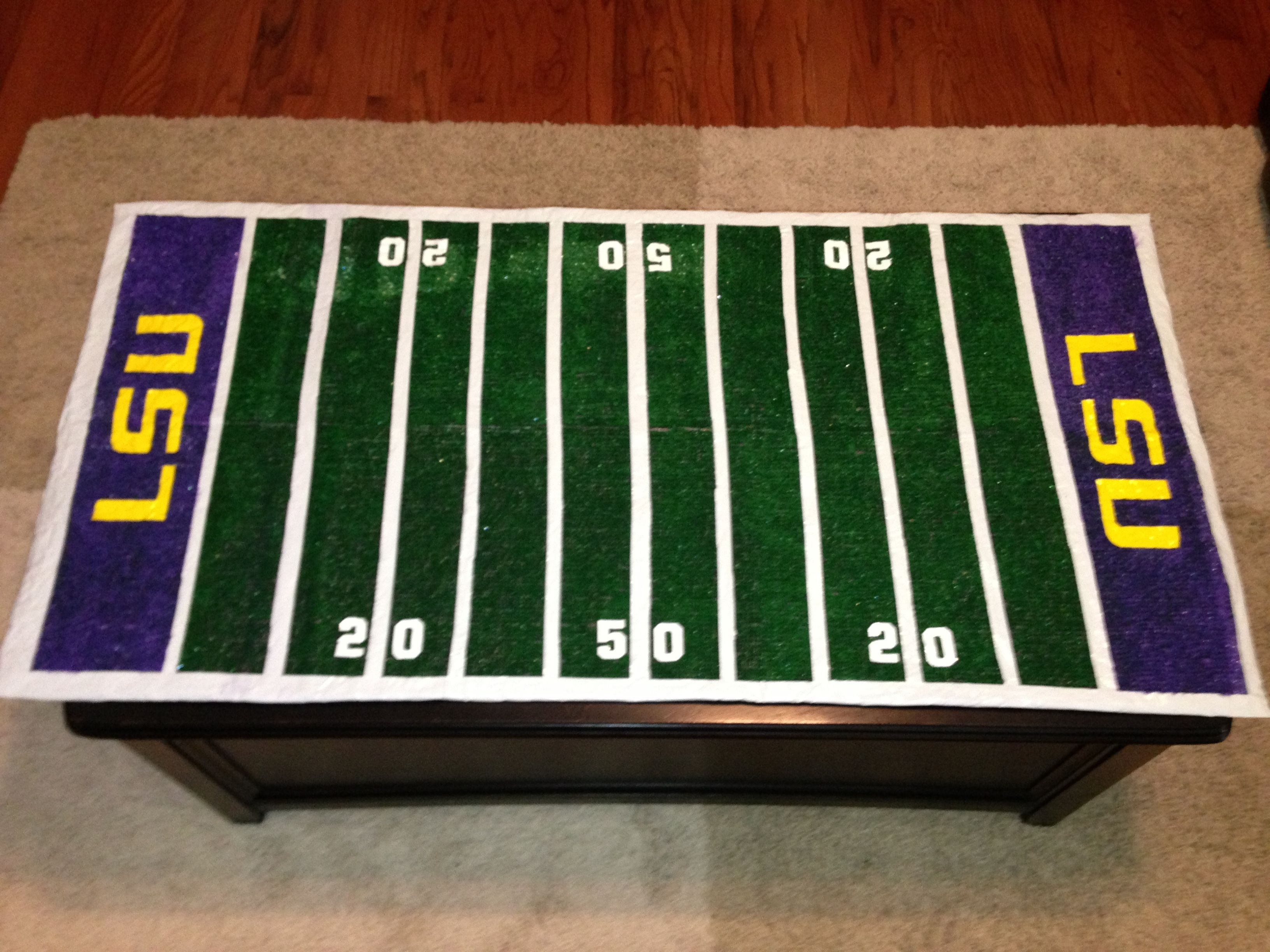 Tailgate & Football party idea LSU faux turf football field