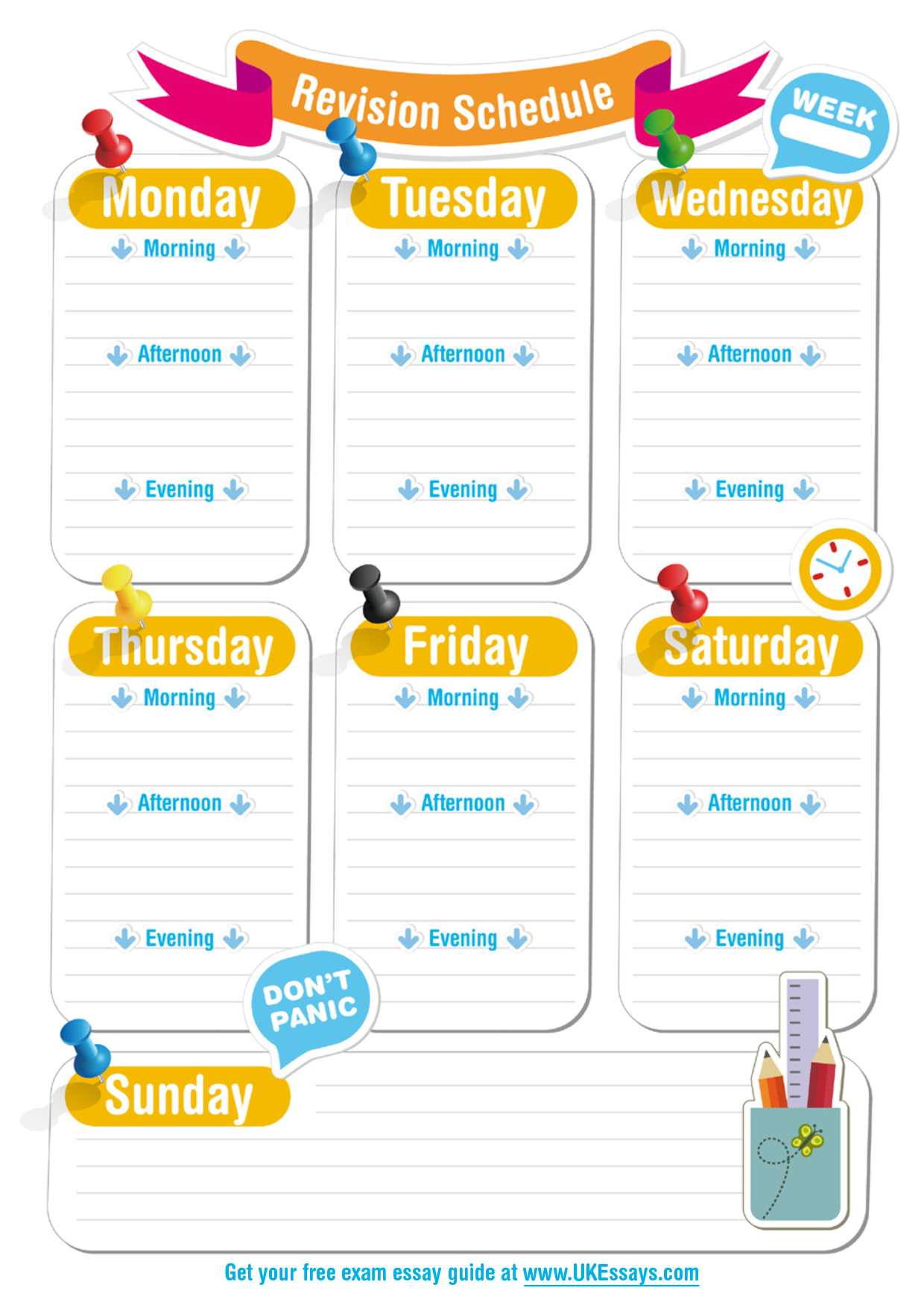 Blank Revision Timetable Template  Classroom    School
