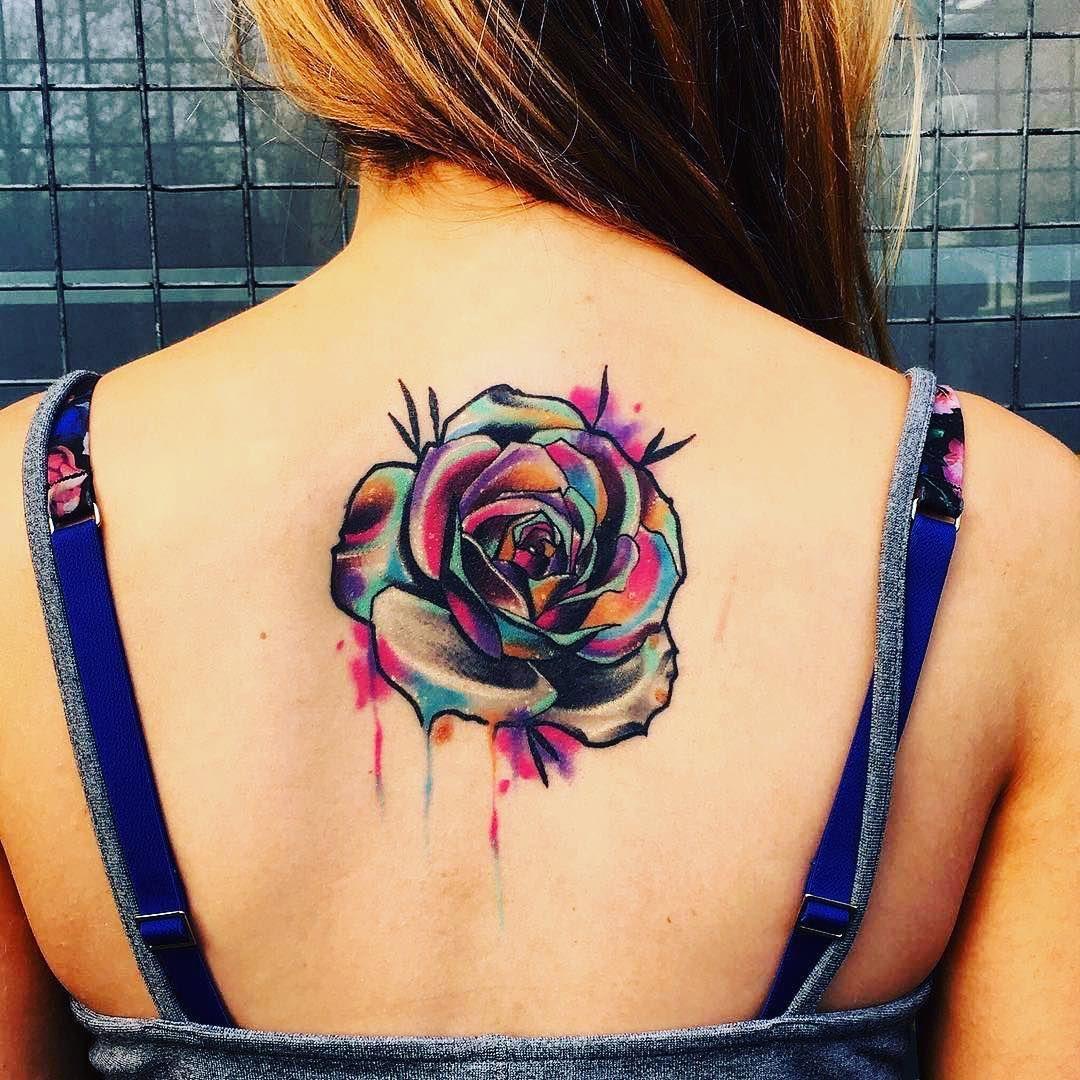 Flor Rosa Acuarelas Por Little Andy Tatuajes Pinterest