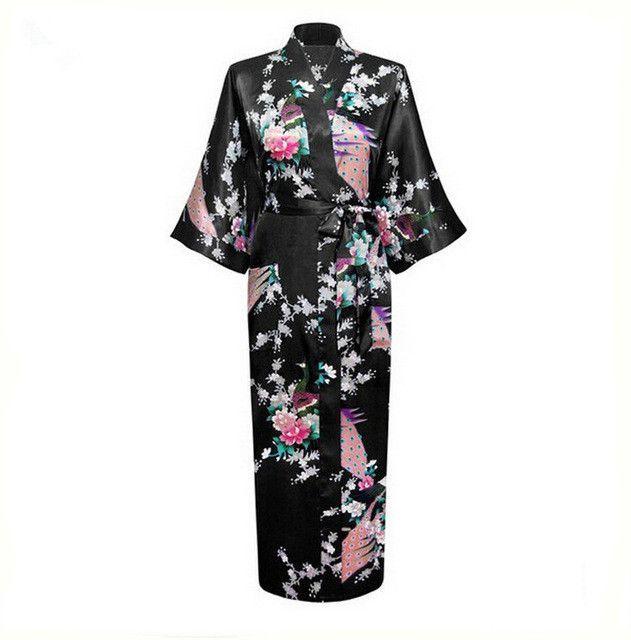 White Sexy Flower Yukata Kimono Bath Gown Women Silk Long Lingerie V-Neck  Robes Sleepwear Sauna Costume Plus Size S-XXXL NR069 40a4278d4